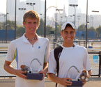 2008 Boys Doubles winners, Dane Propoggia and Nat Maraga holding their trophies
