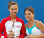 2008 Girls winner, Monika Wejnert and Runner Up, Tanya Samdelok holding their trophies