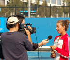 Girls winner of the GYC, Monika Wejnert being interviewed by the Turkish media