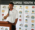 Mark Handley from Tennis Australia giving a speech at the launch of the Gallipoli Youth Cup in Ipswich, Qld