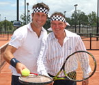 Mayor of Ipswich, Paul Pisasale, with Pat Cash in attendance, wearing Pat's famous headband at the launch of the Gallipoli Youth Cup