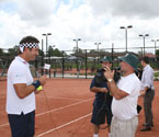 Pat Cash being interviewed by Turk Plus TV at the launch of the Gallipoli Youth Cup