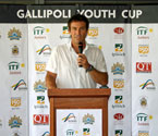 Pat Cash giving a speech at the launch of the Gallipoli Youth Cup in Ipswich, Qld