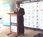 Turgut Allahmanli giving a speech at the launch of the Gallipoli Youth Cup in Ipswich, Qld
