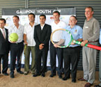Launch of the GYC (left to right) Division 1 - Councillor David Morrison, Honorary Consul of the Republic of Turkey in Brisbane for Queensland - Turgut Allahmanli, Mayor - Cr Paul Pisasale, GYC Ambassador - Pat Cash, Founder of GYC - Umit Oraloglu, Tennis Australia official - Mark Handley, Secretary of the Ipswich Sub Branch RSL - Phil Bailey, District President of Moreton District Branch RSL - Adrian Sheply and President of the Ipswich Sub Branch RSL - Phil Gilbert