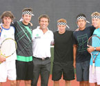 Pat Cash (Ambassador of GYC) with AIS Academy tennis players wearing his famous chequered headband. The players L to R: Andrew Whittington, Joey Swaysland, Sean Berman, Jason Kubler & James Duckworth