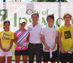 Pat Cash (Ambassador of GYC) with the Winners and Runners Up of the boys & girls singles final. L to R: 2010 Girls Winner, Nao Hibino (Japan), Runner Up, Ashleigh Barty (Aus), 2010 Boys Winner, Mark Richards (Aus) and Runner Up, Kieren Thompson holding their trophies