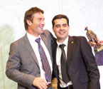 Pat Cash embraces Mr. Umit Oraloglu (Founder of Gallipoli Youth Cup)