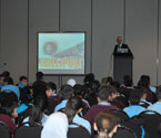 Mike Annett, CEO of RSL in Victoria educating school kids on the ANZACs, the Gallipoli campaign and Ataturk