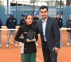 Gallipoli Youth Cup girls' Runner Up, Seone Mendez receives Crystal Trophy from Umit Oraloglu (Founder of the Gallipoli Youth Cup)
