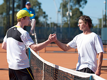 Jake Delaney (L) shakes hands with Cormac Clissold after winning the final of the Gallipoli Youth Cup at Melbourne Park; (Photo credit: Elizabeth Xue-Bai)