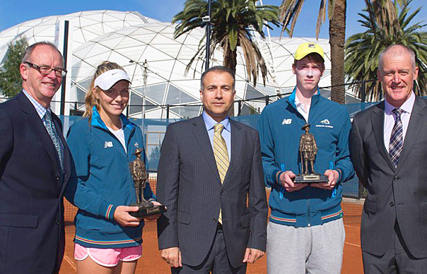 (L-R) Michael Annett, CEO RSL Victoria, competitor Maddison Inglis (WA), Consul General for the Republic of Turkey Mehmet Apak, competitor Jake Delaney (NSW) and former Australian player and Davis Cup Captain John Fitzgerald with the Gallipoli Youth Cup trophies, which include sand from Gallipoli. (Photo credit: Elizabeth Xue Bai)