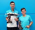 (L to R) Boys Doubles Winners, Lucas Vuradin and Charles Roberts holding their trophies (Photo: Elizabeth Xue-Bai)