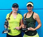 (L to R) Girls Doubles Winners, Gabriella Da Silva Fick and Nicole Kraemer holding their trophies (Photo: Elizabeth Xue-Bai)