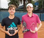 (L to R) Boys Runner Up, Lucas Vuradin and Boys Winner Matthew Romios holding their trophies (Photo: Elizabeth Xue-Bai)