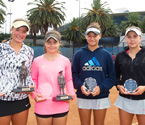 (L to R) Girls Doubles Winners, Gabriella Da Silva & Selina Turulja together with Girls Doubles Runners Up, Violet Apisah and Gabriela Sprague (Photo: Elizabeth Xue-Bai)
